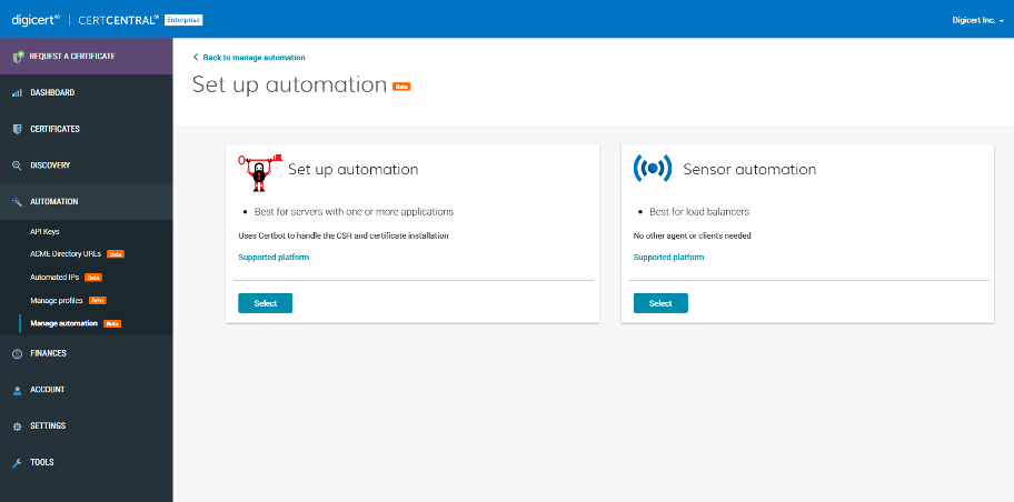 3 Automation Set Up in CertCentral