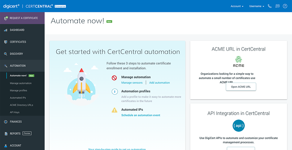 2 Setting Up Automation Wizard in CertCentral