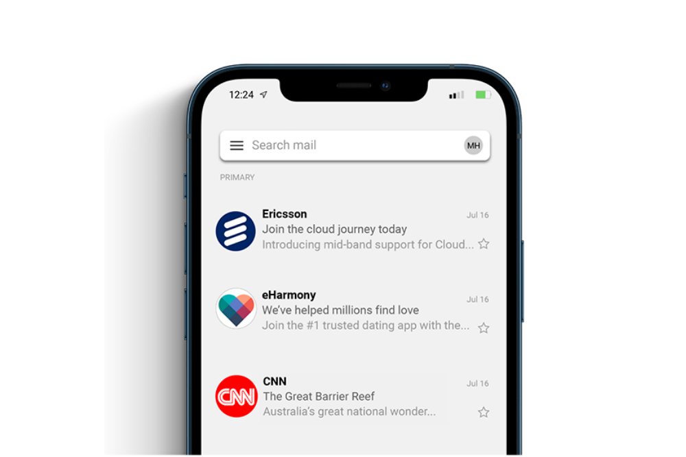 Mobile Email Inbox showing Verified Mark Certificates in action
