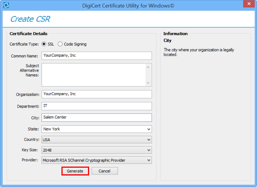 CSR Creation with DigiCert Utility