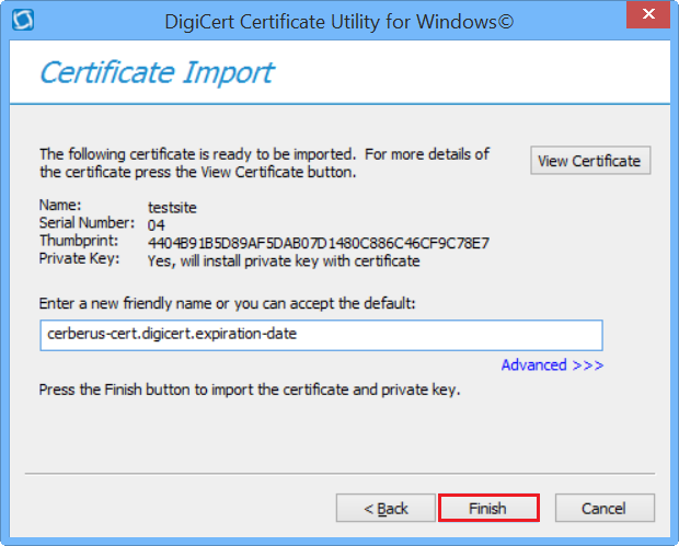 DigiCert Utility Import
