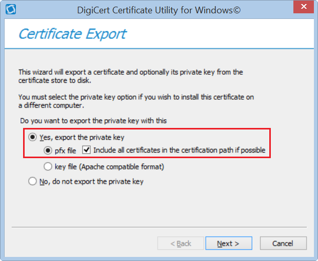 DigiCert Utility Code Signing Certificate Exporting Options
