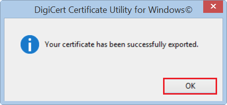 successfully exported certificate