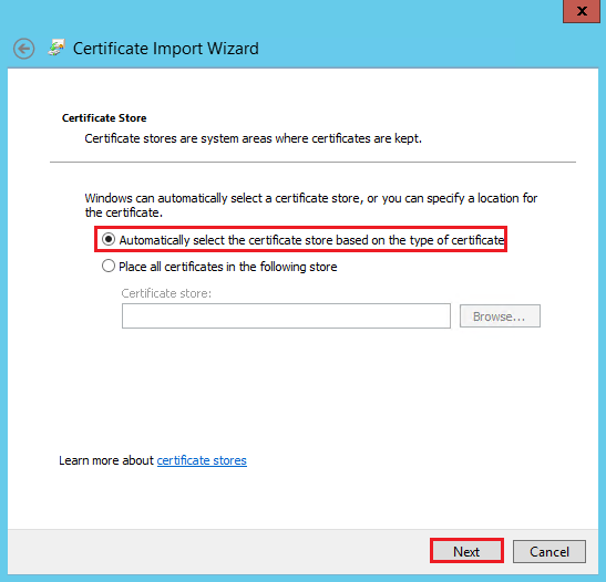 Windows Certificate Import Wizard