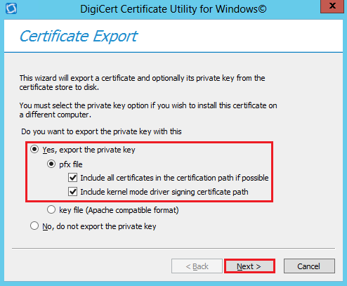 DigiCert Utility Kernel Mode Driver Exporting Options
