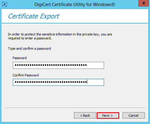 DigiCert Utility PFX Password Creation