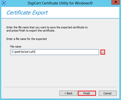 Save driver signing certificate as a PFX file