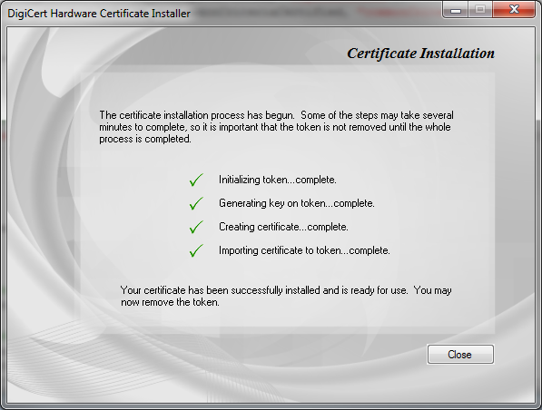 EV Code Signing Utility Certificate Installation Process