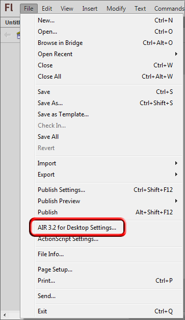 Adobe Flash File Menu select Adobe Air Settings.