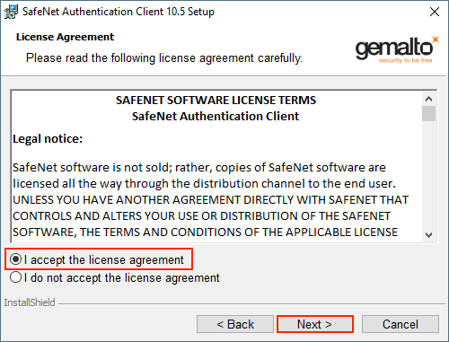 Safenet Authentication Client License Agreement