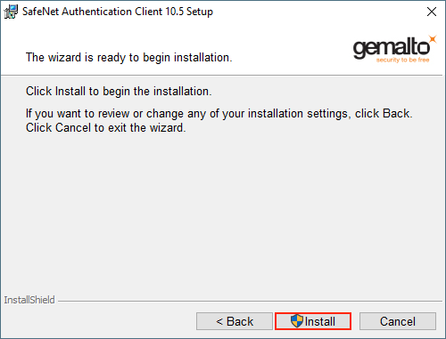 Safenet client start installation screen.