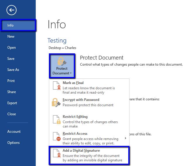 Sign Microsoft Office 2013 2010 2007 Documents Digicert Com