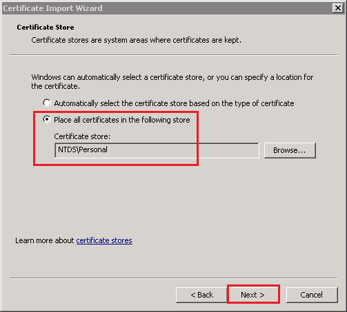 Certificate Import Wizard Certificate Store page
