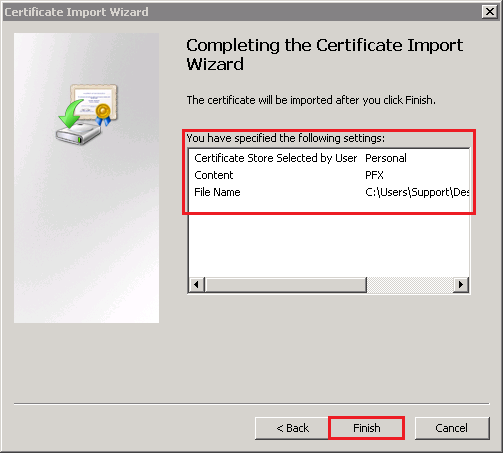Completing the Certificate Import page