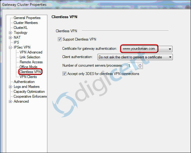 Clientless VPN SSL Certificate Selection
