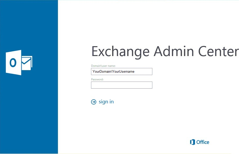 Exchange Admin Center sign in