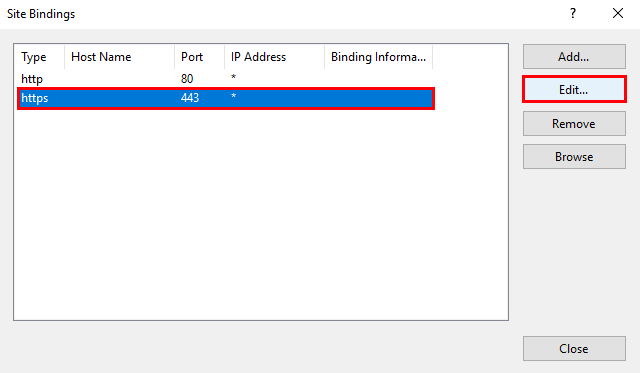 IIS Manager Site Binding