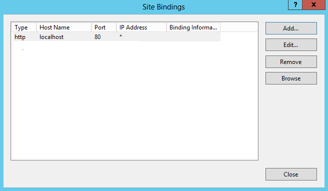 IIS8 Site Bindings Window