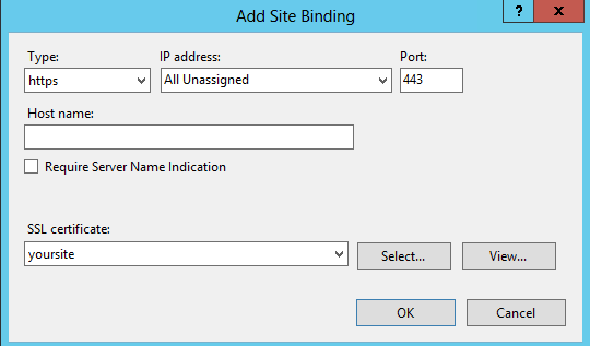 IIS8 Add Site Binding Window
