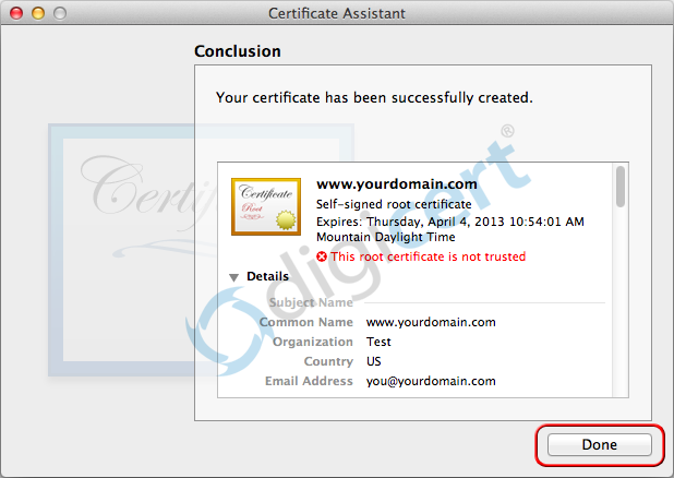 Certificate Successfully Created