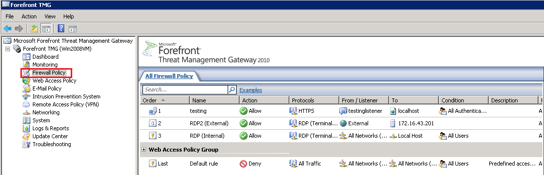 Forefront TMG Management console