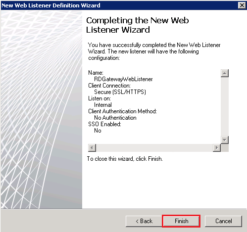 New Web Listener Definition Wizard: Completing the New Web Listener Wizard page