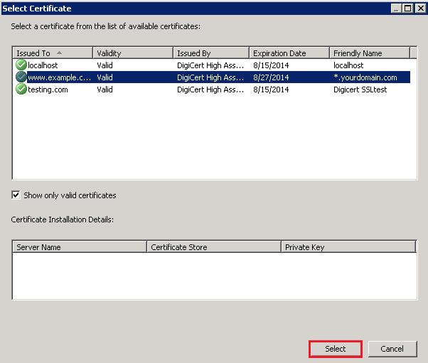 Select Certificate window