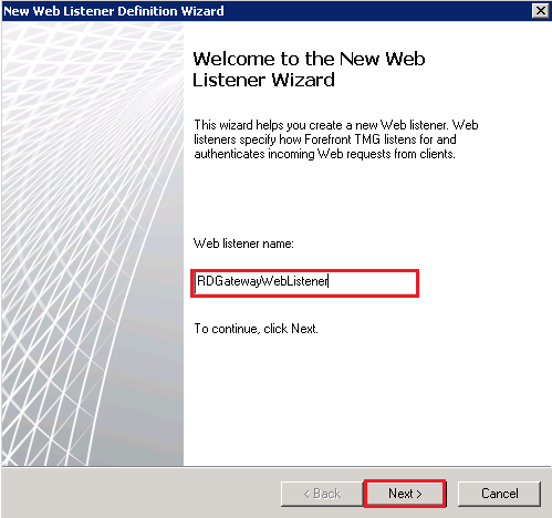 New Web Listener Definition Wizard: Welcome to the New Web Listener Wizard page