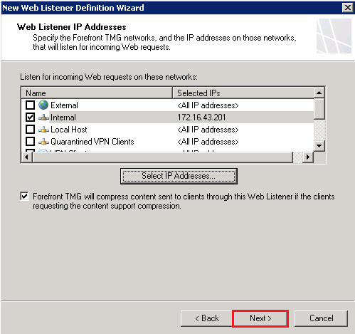 New Web Listener Definition Wizard: Web Listener IP Addresses page