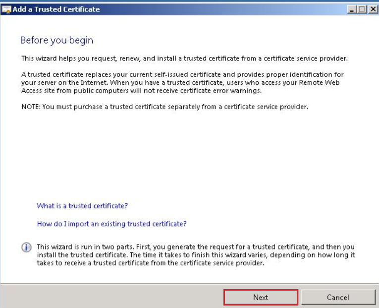 Add a Trusted Certificate wizard