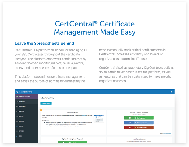 CertCentral Upgrade - Consolidated SSL Certificate Management from DigiCert