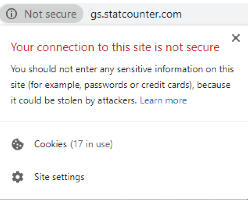 Chrome user display for not secure sites